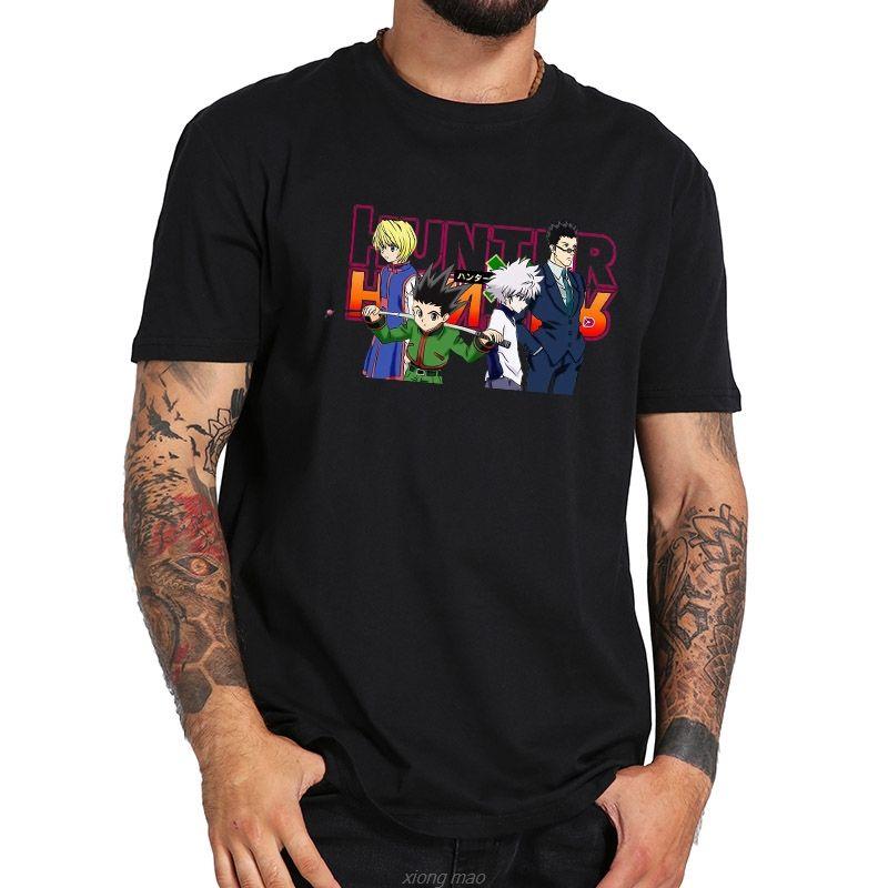 Sport Dimensioni 100% Camicia UE T colorata grafica stampata Top manica corta Hunter X Hunter Tees nero traspirante