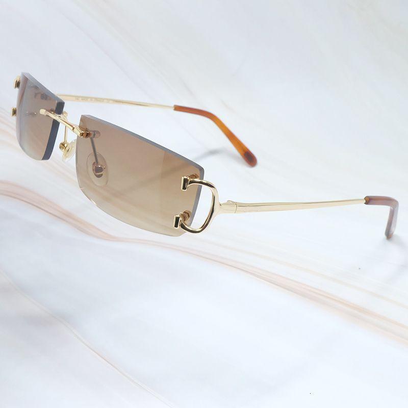 Gafas de sol metálicas Marcos con cartero Gafas Hombres Gafas Mujeres Marcos Big C Oro Sol Marco de vidrio para Hombres Rimless Sunglass Marco Gafas