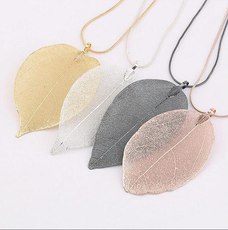 Мода Ювелирный дизайн 24K Золотая серебряное покрытие натуральный реальный лист длинное ожерелье подвесной свитер цепи ключицы ожерелье 1397