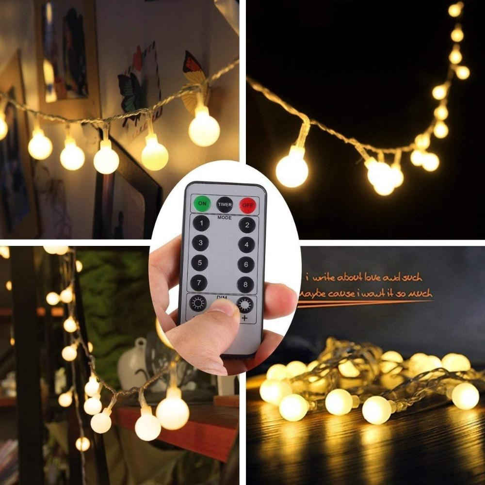الكرة LED سلسلة الأنوار 80 الصمام للماء أضواء ستار بطارية تعمل بالطاقة ندفة الثلج الجنية غلوب ضوء سلسلة مع الضوء البعيد