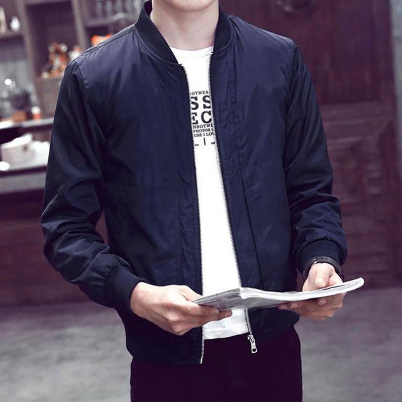 Vogue Fashion Zipper Jacket Hombres Invierno Warm Slim Outwear Manga larga Navy Negro Masculino Veste Tops