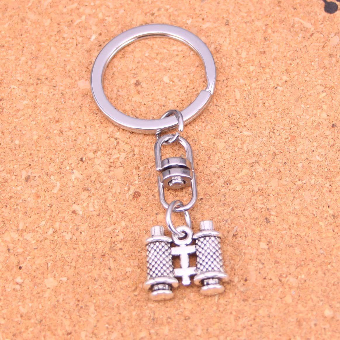 Llavero de la moda 14 * 15 * 3 mm de doble cara colgantes telescopio joyería DIY cadena dominante del coche anillo del sostenedor de recuerdo para el regalo