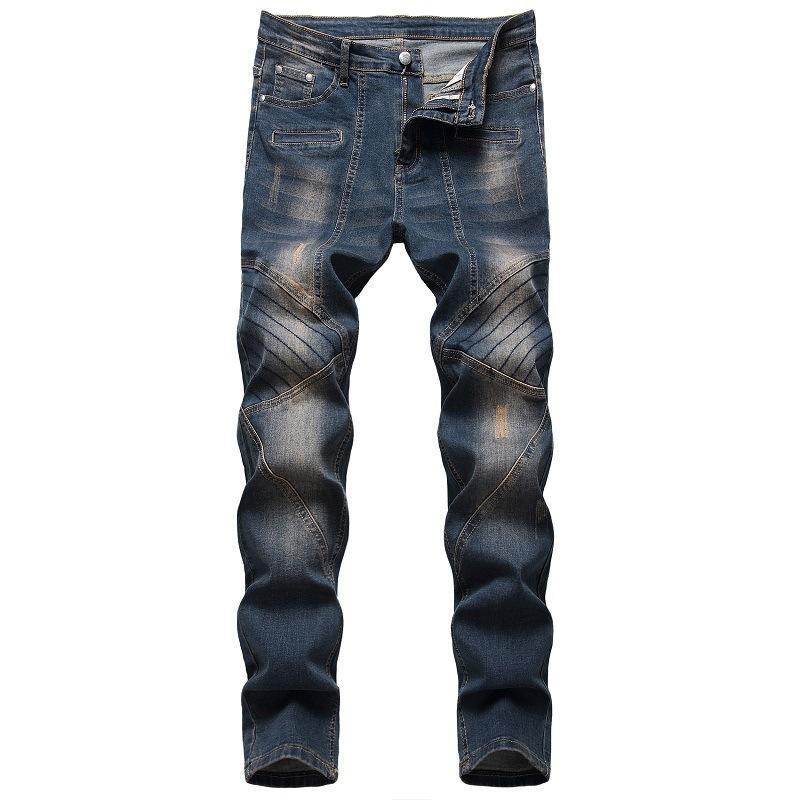 Men's Jeans Men Long Four Season Brand Cotton Stretch Nostalgic Frayed Denim Trend Pants Plus Size Dropship