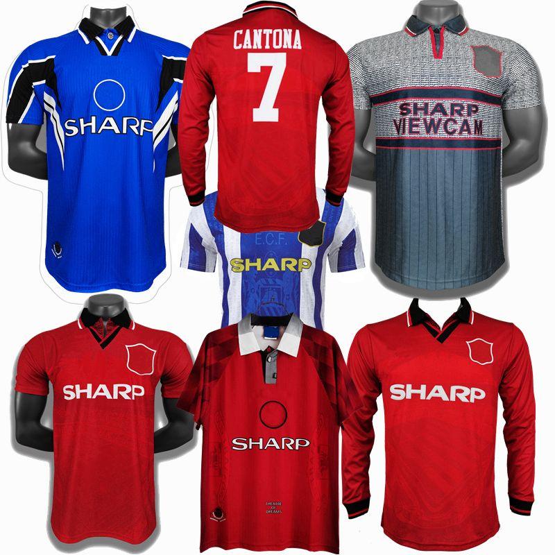 Retro Classic 1994 1995 1996 1997 1998 Jerseys de futebol Manchester Cantona Beckham Keane Neville Giggs Scholes Camisa de futebol retrô