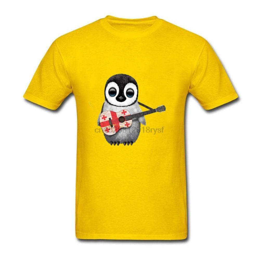 Le plus récent d'été à manches courtes Hauts Casual refroidissent Mode Bébé Pingouin Jouer de la guitare Drapeau géorgien imprimé Sport Sweat à capuche à capuche T-shirt