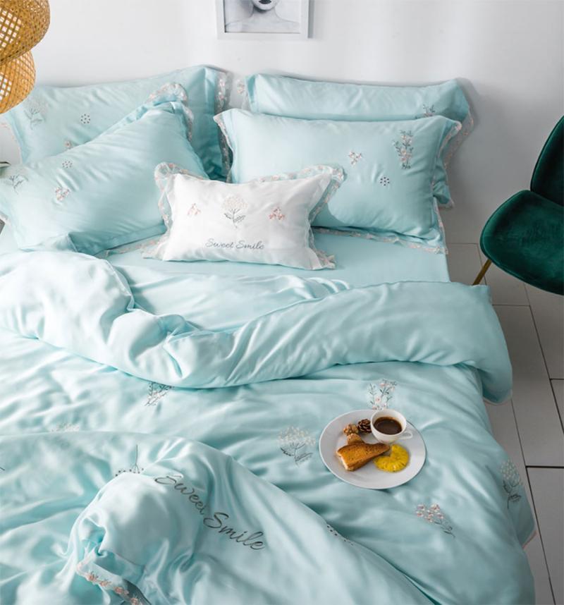 Elegante flor cama de cama adulto menina adolescente, rainha completa rei branco azul rosa duplo casa têxtil folha de colheita de folha de fronteira