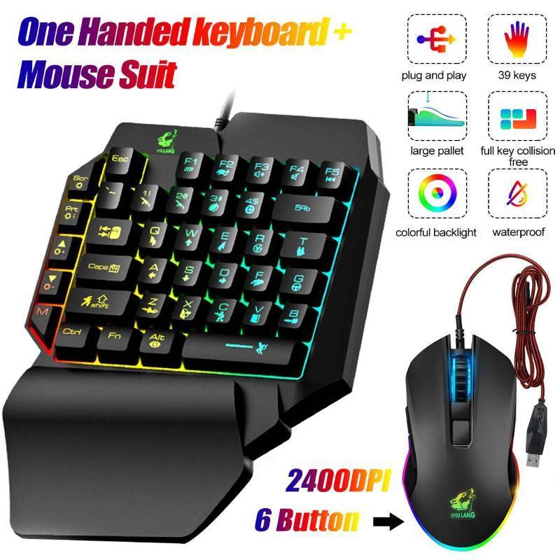 39 клавиш LED красочный свет USB Проводная мышь + клавиатура Kit одной рукой клавиатуры костюм смешанный цвет подсветки одной рукой