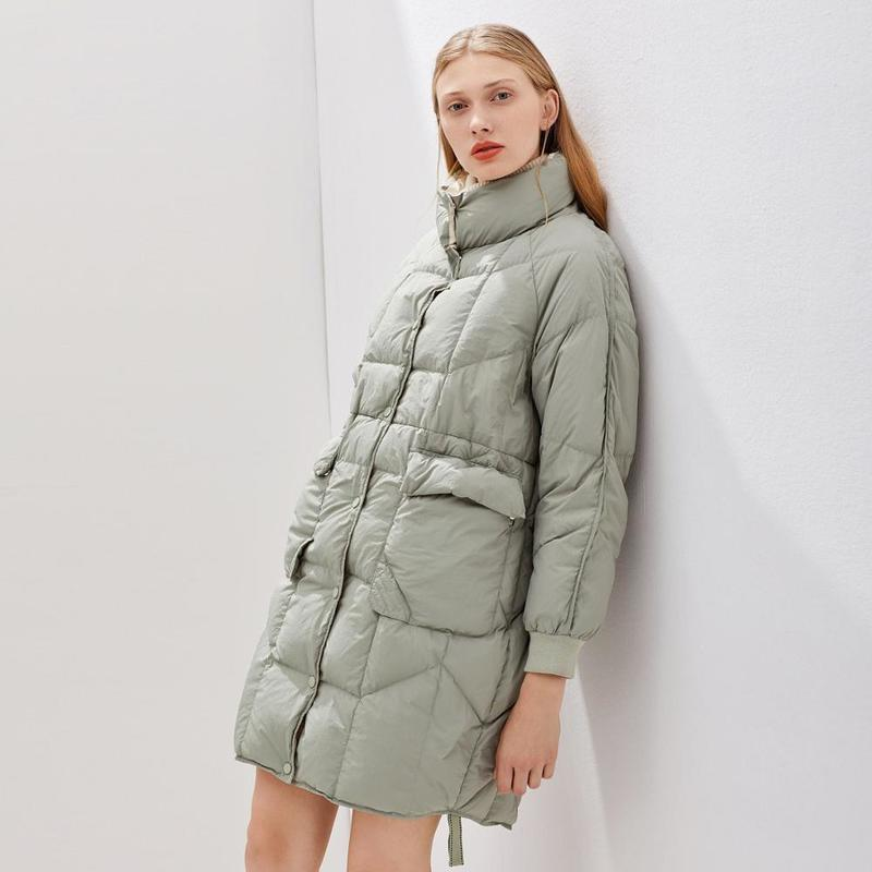Janveny Jacket Mulheres 2020 Branco New Inverno Duck Brasão jaquetas soltas Longo Pena Moda Feminina Thicken Parkas Outwear