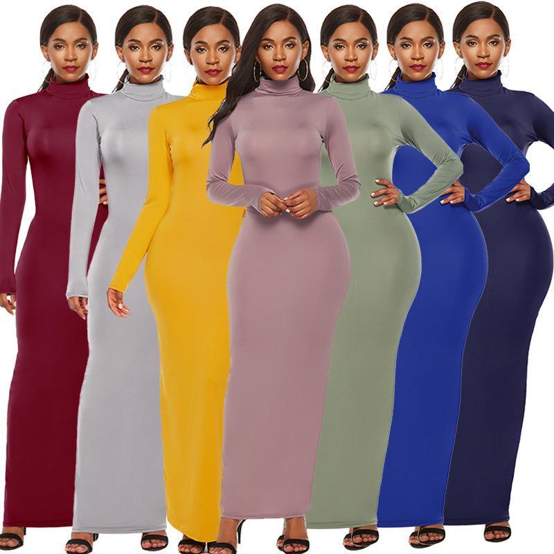 Femmes manches longues robe designeur Sexy Slim Elastic Collier High High Jupe Longue Dames Couleur Solid One Pièce Robes Plus Taille Nouveau Vente chaude