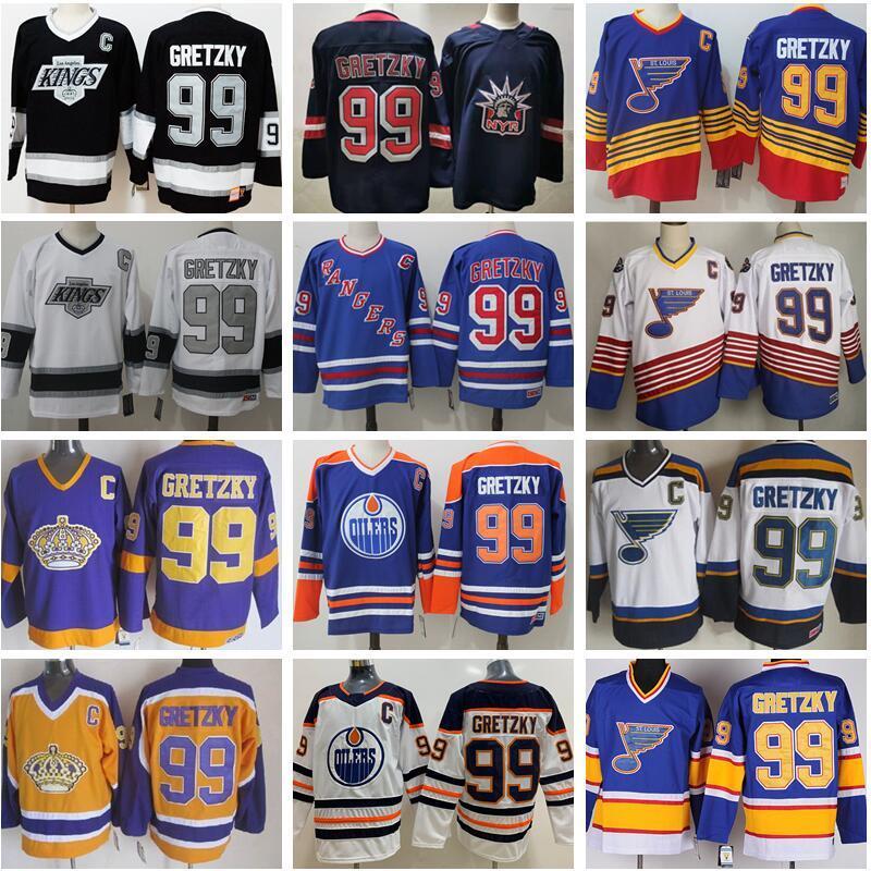 아이스 하키 99 Wayne Gretzky Jersey 남자 뉴욕 레인저스 세인트 루이 블루스 라 로스 앤젤레스 킹스 에드먼턴 oilers 블루 화이트 레트로 빈티지