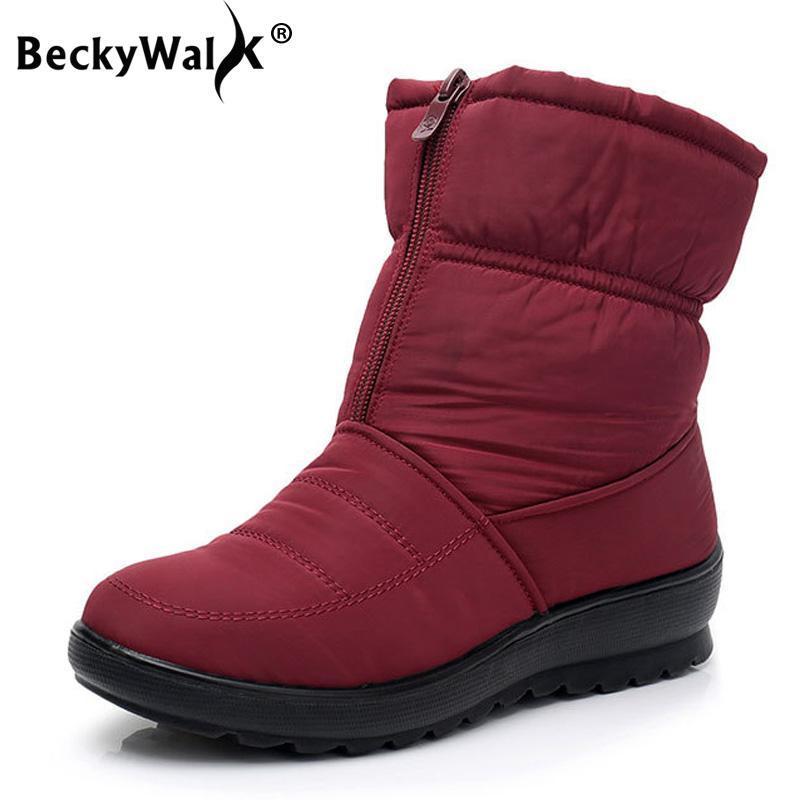 Novo inverno botas novas mãe de algodão antiderrapante botas de lona mais grossa de veludo sapatos de algodão neve quente WSH3146
