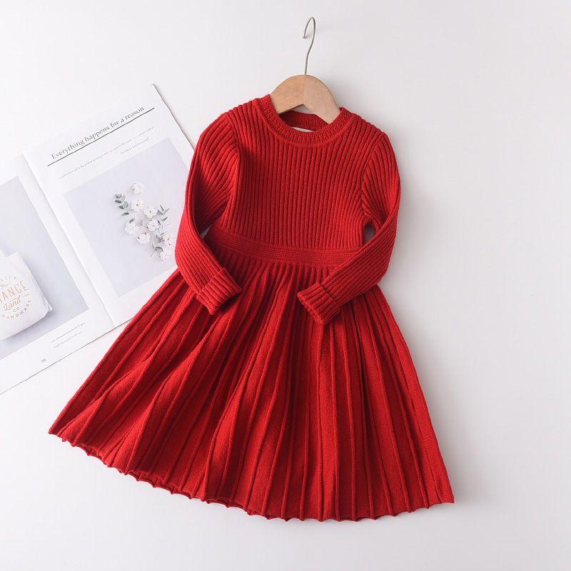 Noël Filles de tricot rouge Automne Hiver Nouveaux enfants robe manches longues à tricoter col rond enfants pull A5053 robe plissée