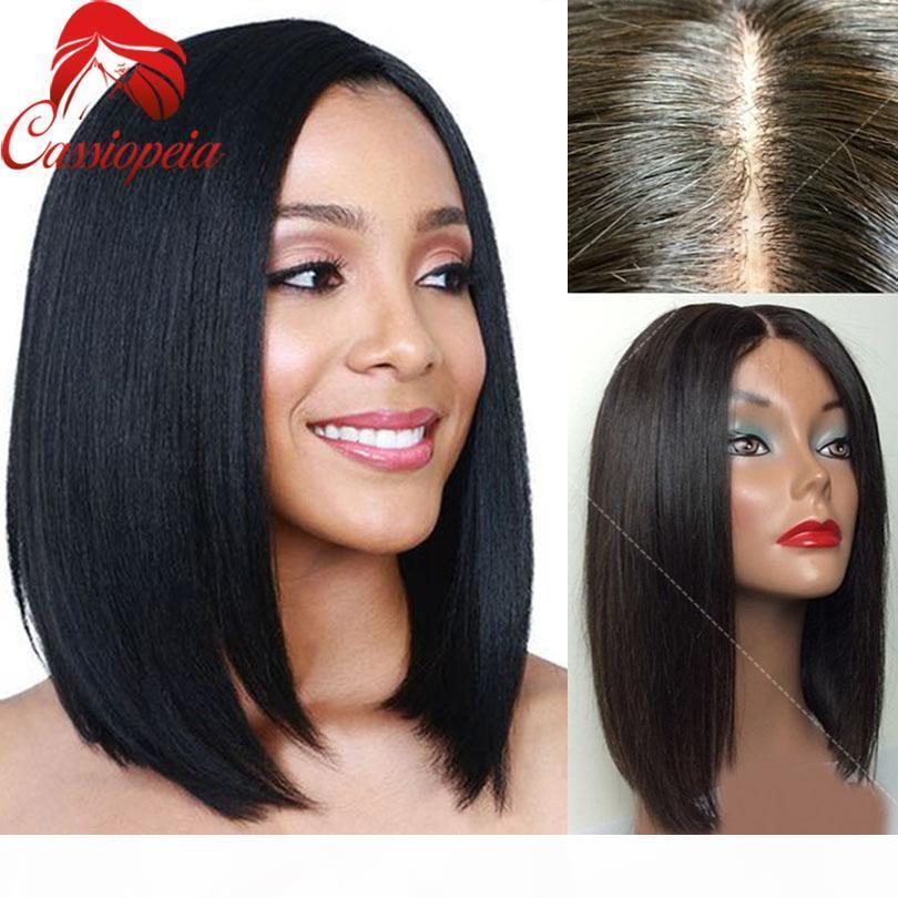 Средняя часть Боб человеческих волос Парики Бесплатная доставка Glueless перуанский волос девственницы Боб фронта шнурка парики для Black Женщины Большие изображения