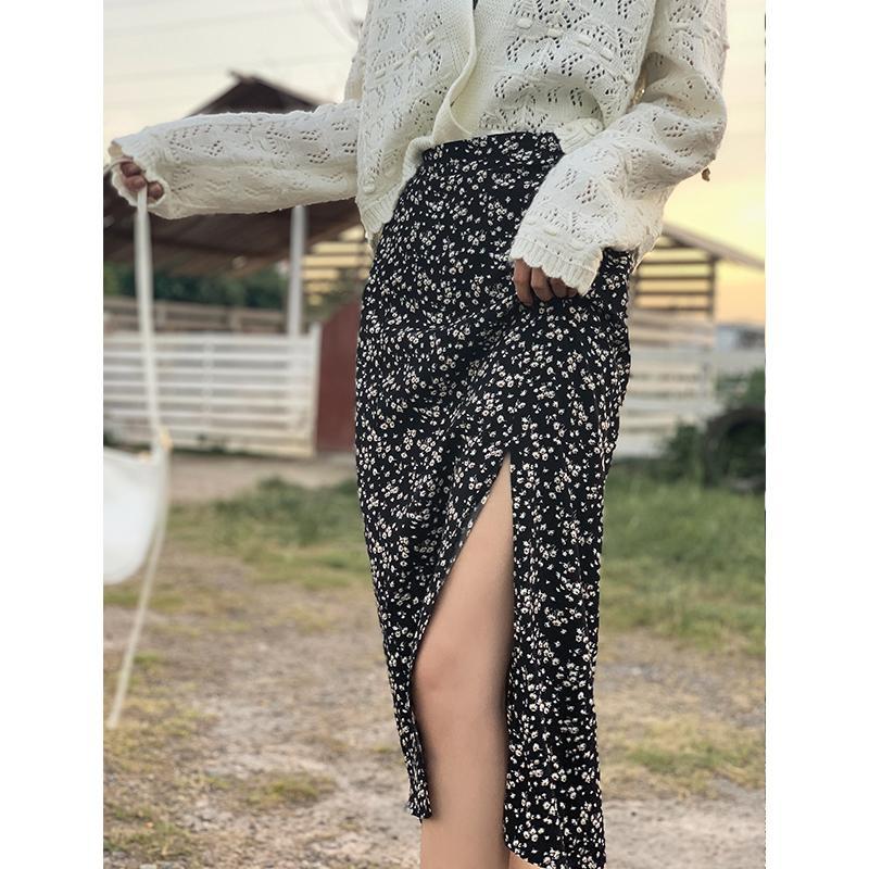 Mishow 2020 Jupes Automne pour les femmes de la mode florale Mi-mollet Slits Bas Femme Vêtements Mx20c1904