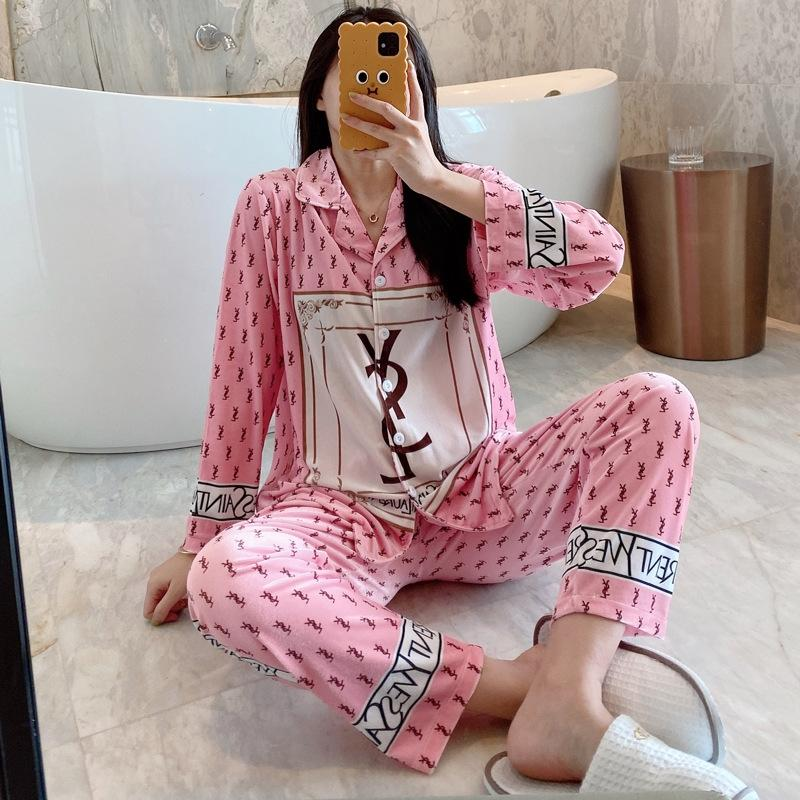 C3t0 Parejas de manga corta para largas impresa seda pijama pantalones Mujeres 2020 flores del verano de los hombres dormir pijamas de satén Homewear Pijama Mujer