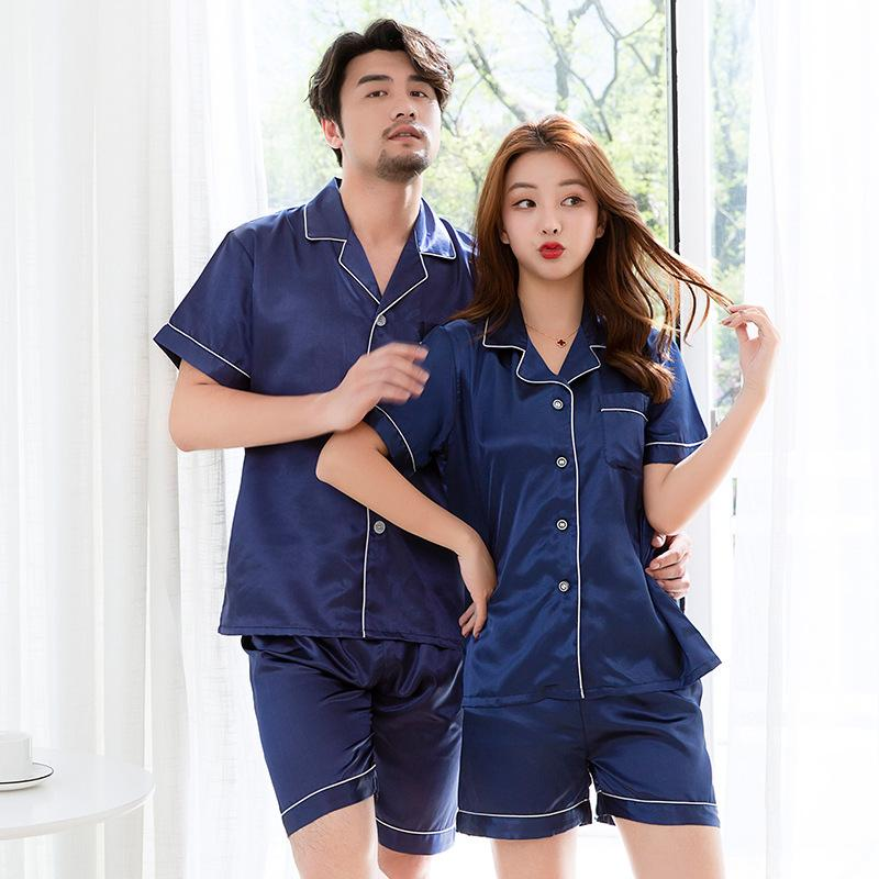 Hombres Mujeres satén atractivo elegante sólido pijama pieza del vestido de dos amantes otoño Pijiama seda del kimono de verano Armada pijamas pijama conjunto