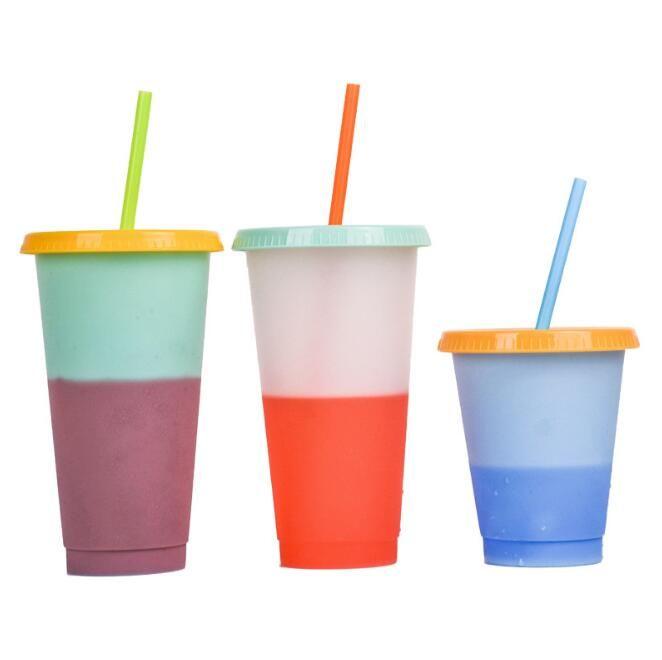 24oz Magic Color Color Copa Copa Copa Flyny Tazas de bebidas de plástico con tapa y caramelo de paja Magic Taza de café Botellas de agua EWC2587