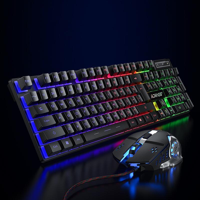 Keyboard Mouse Combos jogos e kit com fio 104 Keycaps com RGB Backlight English Gamer Gamer Ergononômico para PC