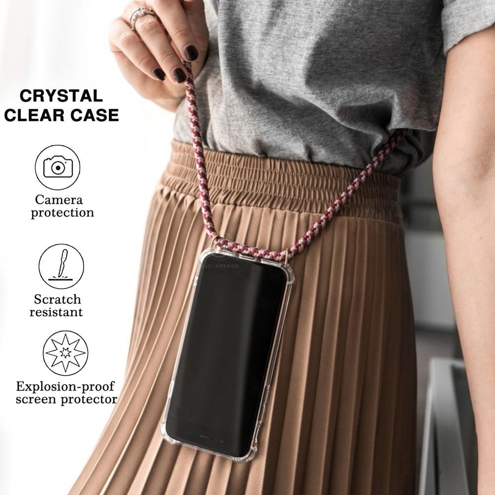 Para iPhone 12 11 Pro X XS Max XR 6 7 8 Mais 6S Transparente TPU macio com capa de cobertura de airbag de lanyard para Samsung S20 S10 Plus Note
