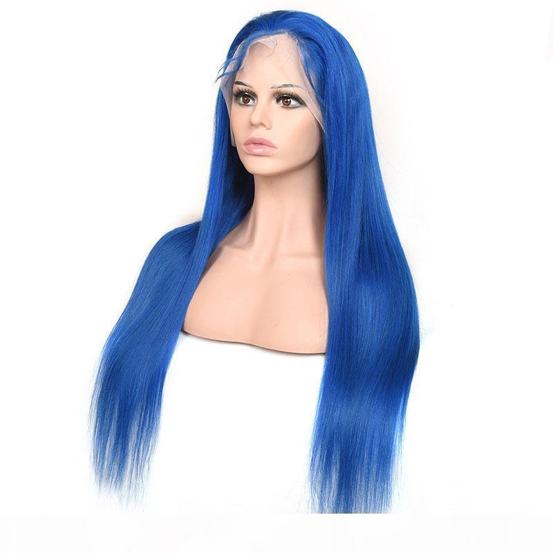 Brésilien Virgin Hair 13x4 Dentelle Avant Perruque Rouge Bleu Rouge Jaune Silky Droit 13 de 4 Dentelle Perruque avant Remy Human Vierge Cheveux 12-30inch