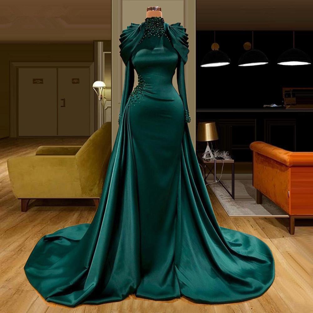 Hunter Green Muslim Arabic Evening Dresses Mermaid 2021 Luxury Crystal Pearls High Neck Long Sleeve Beaded Prom Gowns