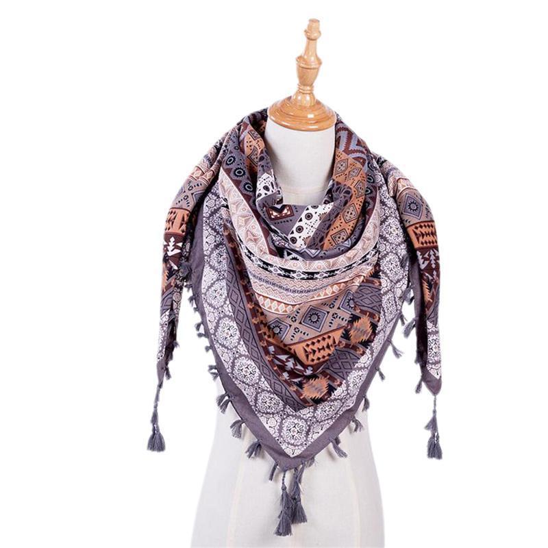 Boho Écharpe Femmes d'hiver cotonnades ENTOURAGE long chaud écharpe ethnique triangle imprimé Tassel multi-usages Châle