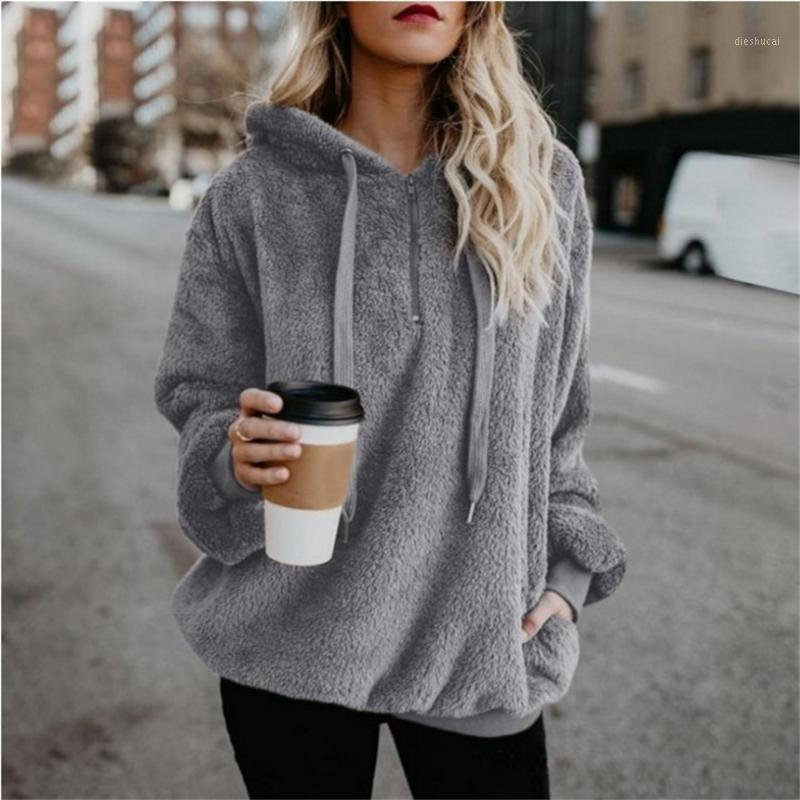 New Women Sweaters Plus Size 5XL Fleece Zipper Hooded Pullover Casual Solid Color Ladies Tops Long Sleeves Loose Plush Sweater1