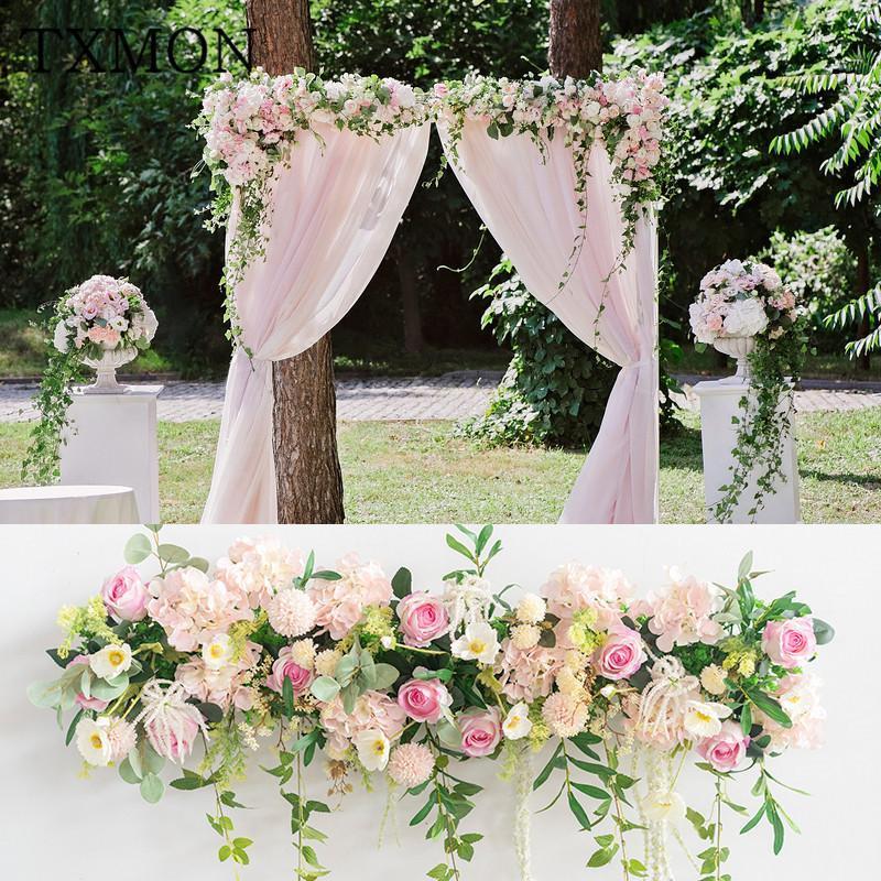 Arreglo de flor de boda personalizado Simulación Fake Flower Decoration Precs Scene Scene Scene Road Leader Arreglo