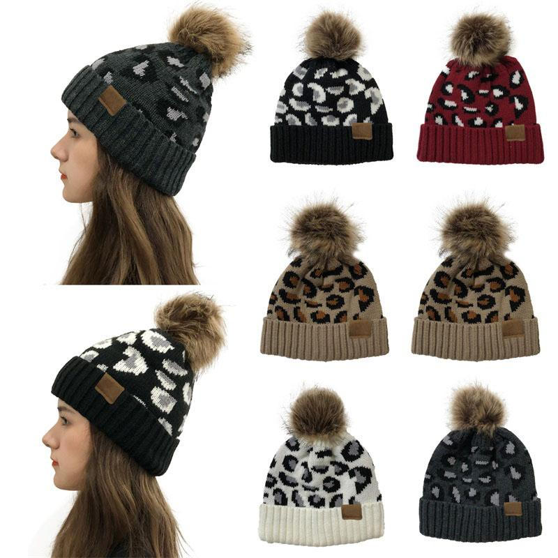 Moda Otoño Invierno leopardo de las señoras del patrón de lana encrespada bola de punto sombrero caliente sombrero de lana
