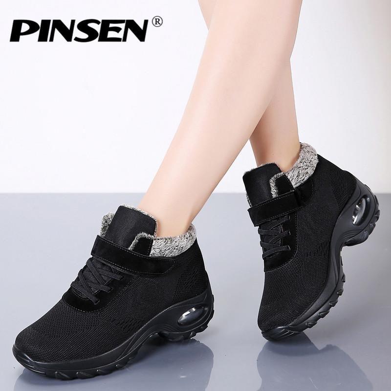 PINSEN Новый 2020 женщин сапоги высокого качества Комфортная зима Keep Warm ботинки женщин шнуровке Non-Slip Мать обувь Botas Mujer