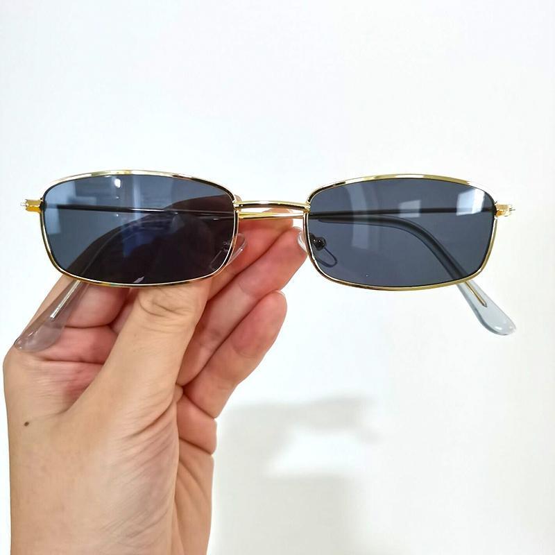 Lunettes de soleil Square de luxe Femmes De Designer Rétro Alliage Cadre Grand Sun Lunettes Vintage Or Red Male Oculos Feminino Afqug