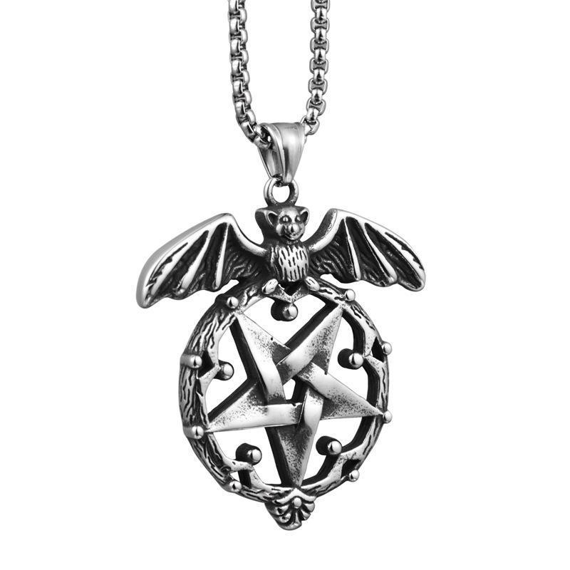 Forma sorte Rodada Pentagrama Colar Pingentes Bat Pentagram por Homens Hip cadeia do aço inoxidável Hop jóias colar de corrente