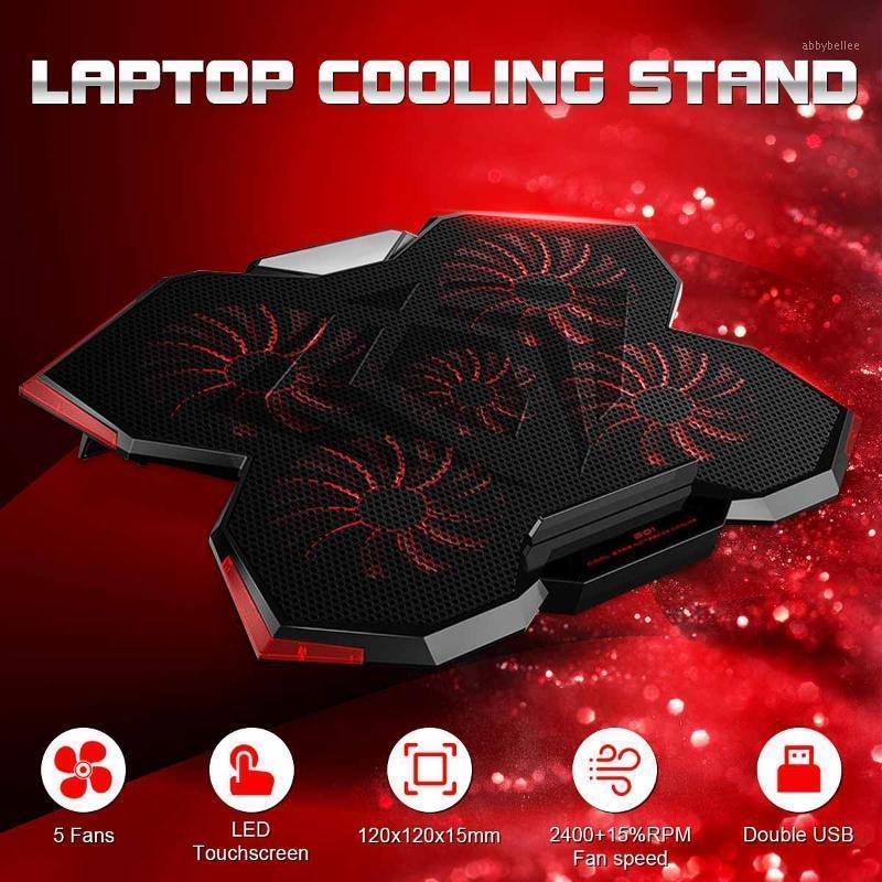 Pad di raffreddamento del computer portatile AbBybellee 2 livelli Regolabile 5 fan Cuscinetto di raffreddamento con radiatore a basso radiatore a bassa velocità touch screen1