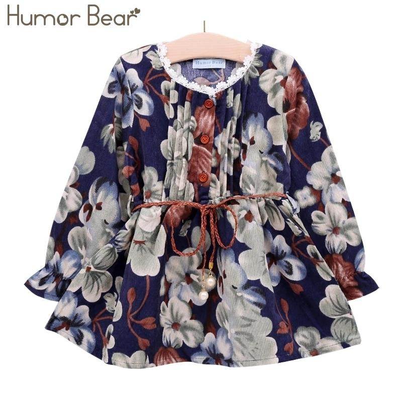 Humor Bear Girls Vestido Nuevo estilo de otoño Ropa de niñas de manga larga Casual Girls Ropa Ropa de niños Vestido de niños Impreso vestido lindo 3-7y 201126