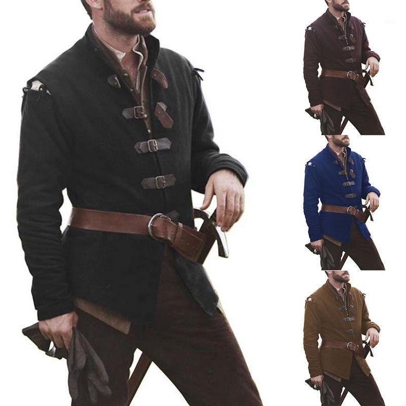 Nouveaux Cosplay médiéval Costume Costume massif Couleur Solide Collier Cuir Cuir Trench-manteau Hommes Vintage Classic Officer Overcoat1