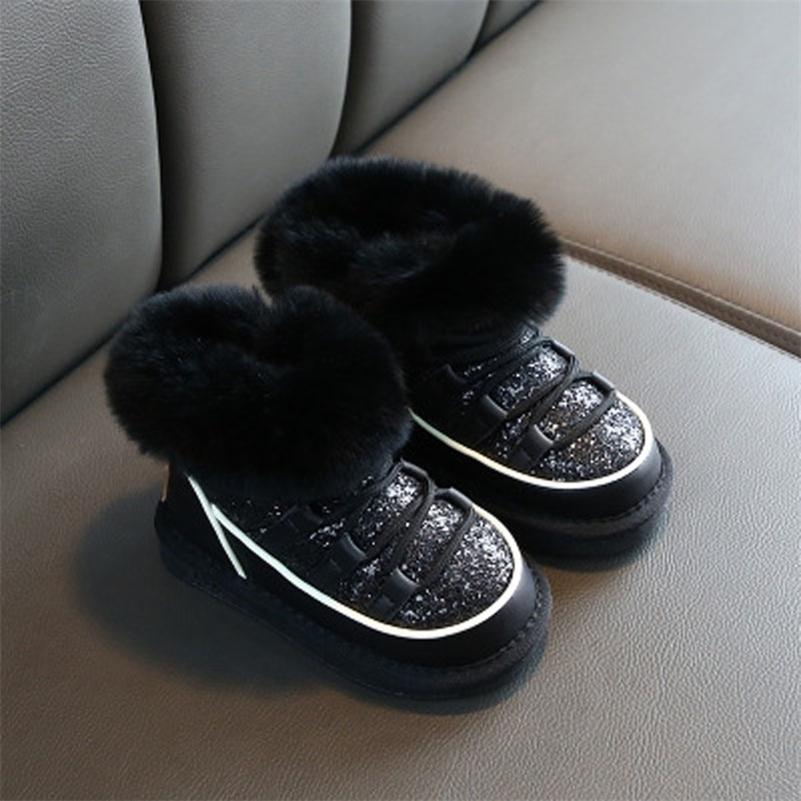 Детская зима Новые девушки блестение принцессы хлопок сапоги кролика детские дети снежные ботинки детские теплые туфли 201222