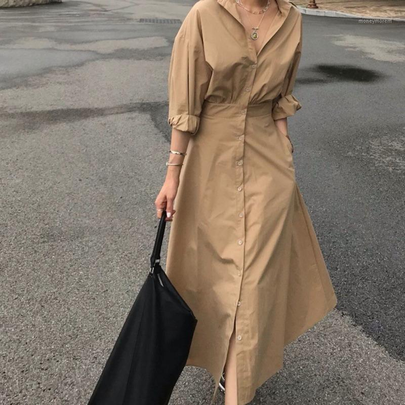 Dunayskiy 2021 Yeni Bahar Moda Kadınlar Vintage Gevşek Yüksek Bel Ince Zarif Tek Göğüslü Gömlek Dress1