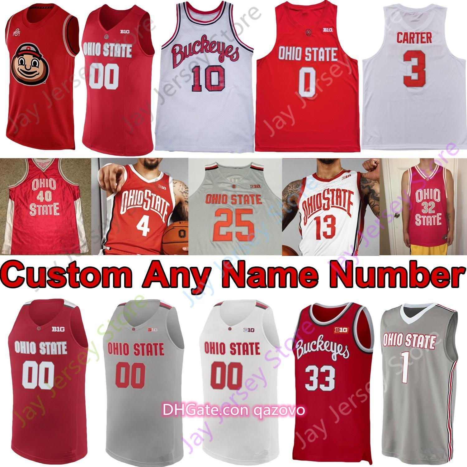 2020 New Ohio State Buckeyes Jersey Basketball Jersey NCAA College Kyle jeune D.J. Carton kaleb