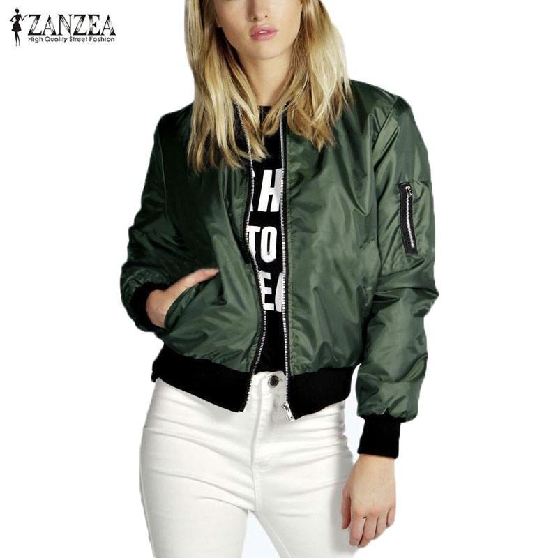 ZANZEA 2020 Fashion Mäntel Damen Jacke Bomber weibliche lange Hülsen-Kurzschluss-Mantel-Punk beiläufige Reißverschluss Stehkragen Oberbekleidung in Übergröße
