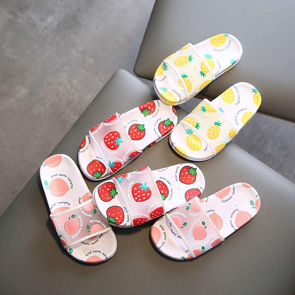 cute Summer children's Korean fruit strawberry slippers for girls