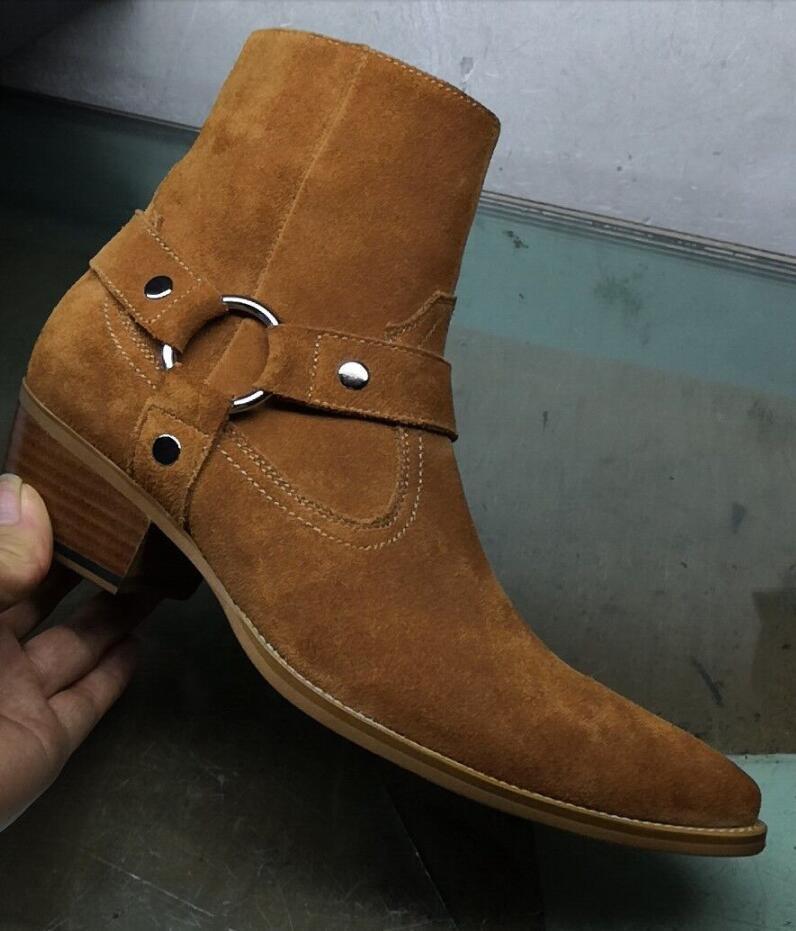 2020 neue Männer Schuhe Punkt Zeheaufladungen Stiefeletten männlichen Veloursleder Booties Stickerei-Parteischuhe für Männer