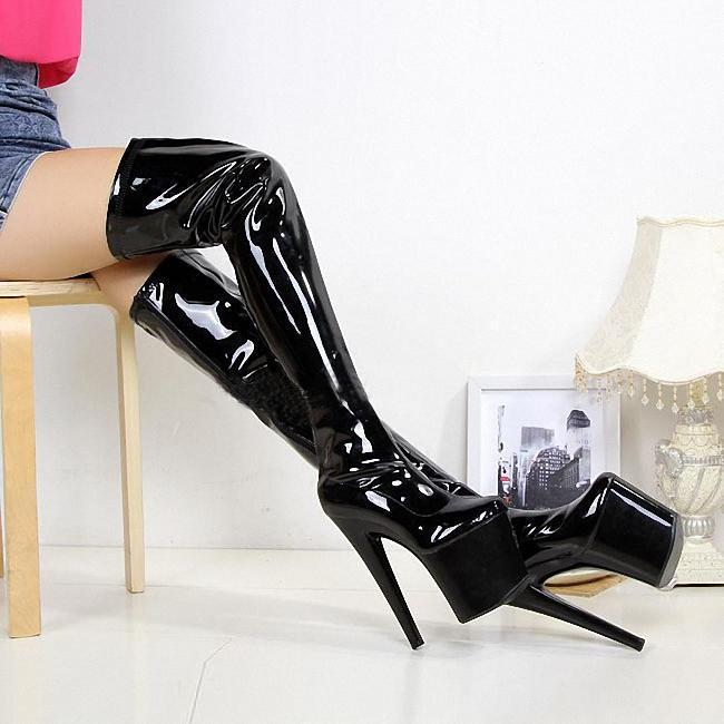 сторона 20сма на молнию над-коленом платформы сексуального сверхвысокого каблуком большого размером 5-16 -черных
