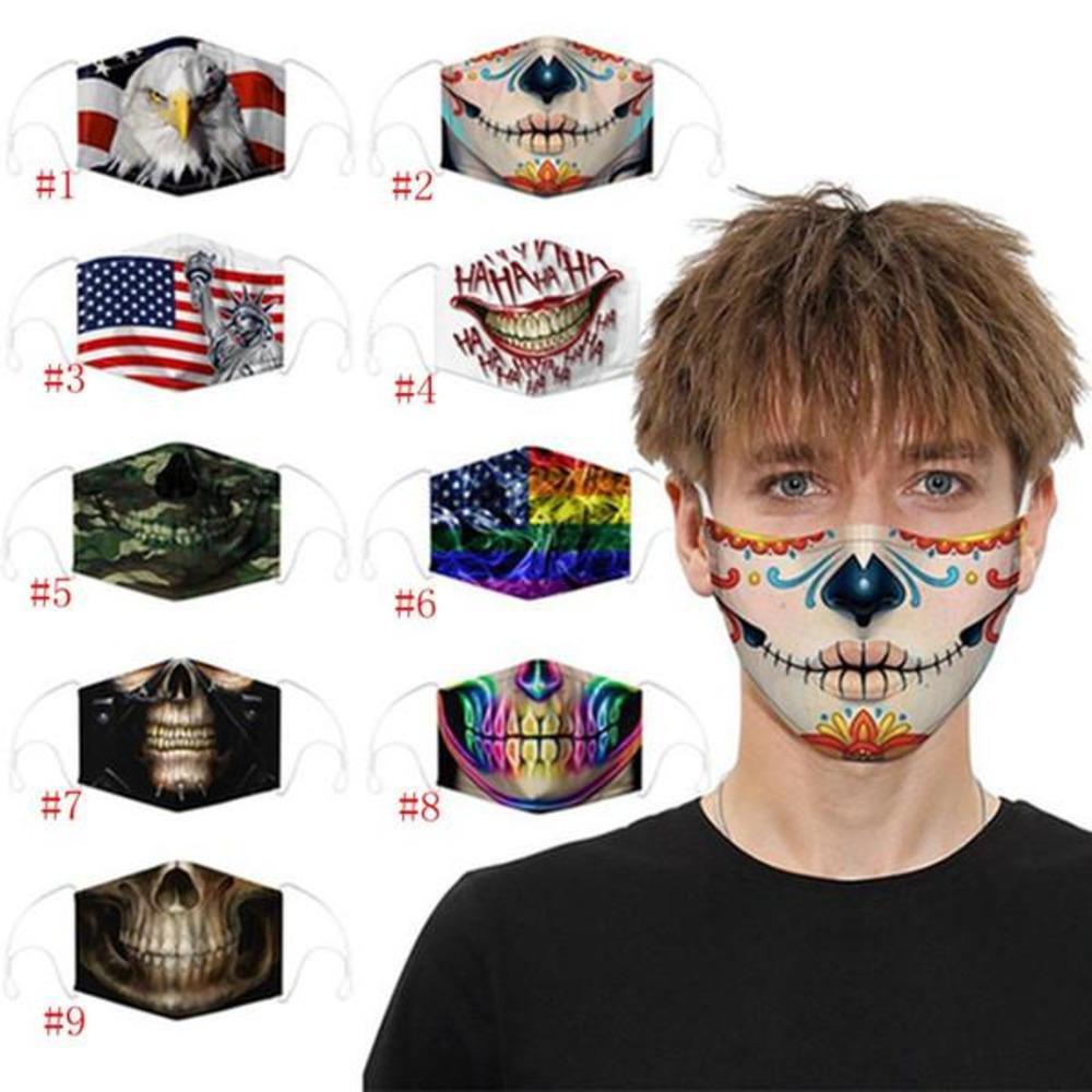 2pcs Yeniden kullanılabilir Moda Kafatası Bayrak Dijital Baskı Cadılar Bayramı Ağız Toz Windproof Tasarımcı Yüz Maskesi Iia25 Fpgt # U1J3 Maske Filtreler