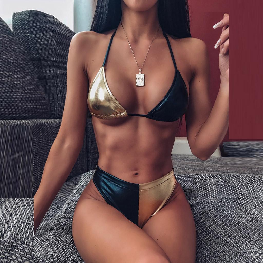 Bikini reflektierende Frauenfarbenstickerei mit hoher Größe Bikini der Frauen sexy Badeanzug
