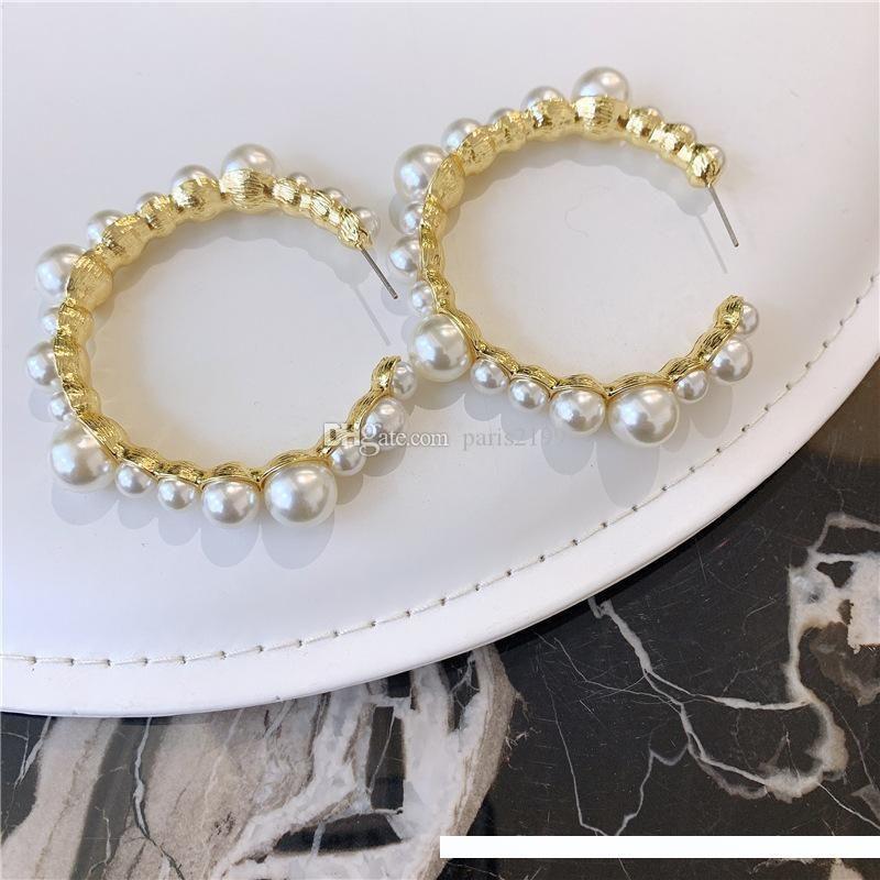 De haute qualité nouvelle des boucles d'oreilles de créateurs plaqué or de la mode femme grande perle Boucles d'oreilles bijoux géométrie Dangle femmes