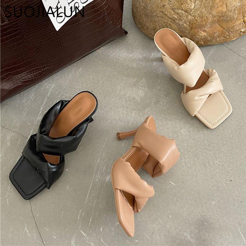 SUOJIALUN 2021 Summer Square Toe Women Slippers Fashion Thin High Heel Ladies Mules Elegant Female Outside Slides Sandal Shoes C0128