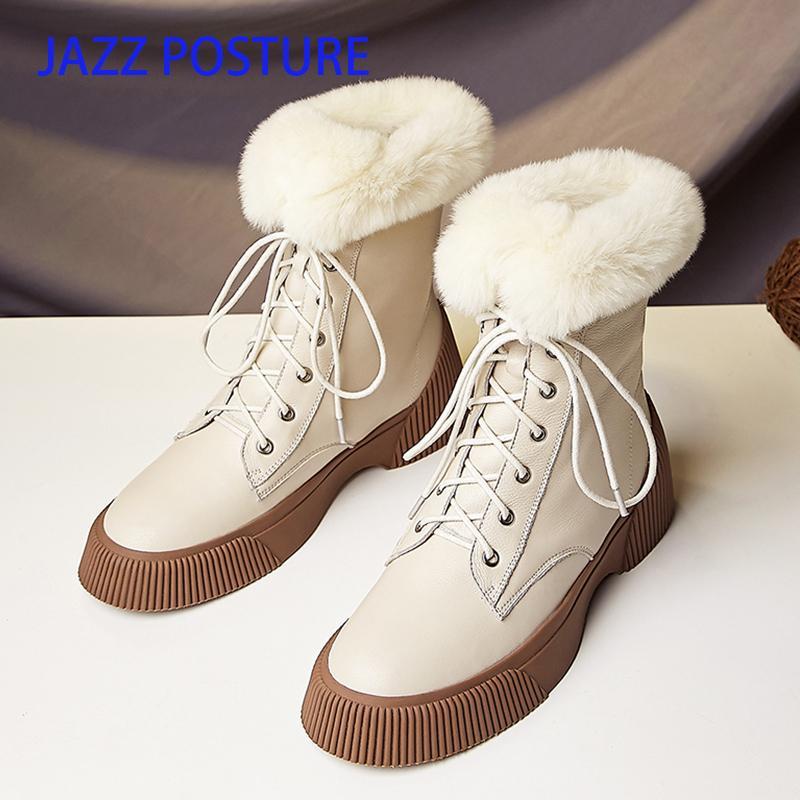 damas de piel de invierno de lana de la nieve del cuero genuino 2020 nuevas botas de cordones de comodidad de la mujer Beige Negro z329 1026