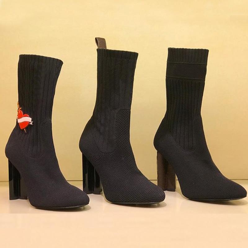 Silhueta das mulheres Botas Ankle Socks Sapatinho Black Stretch salto alto Sock Botas luxo sensuais sapatos de salto alto sapatilha bota tamanho grande
