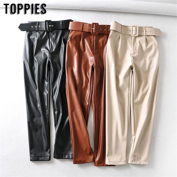 2020 весна искусственной кожи сплошной цвет высокой талии брюки женщины черный PU брюки Streetwear C1114
