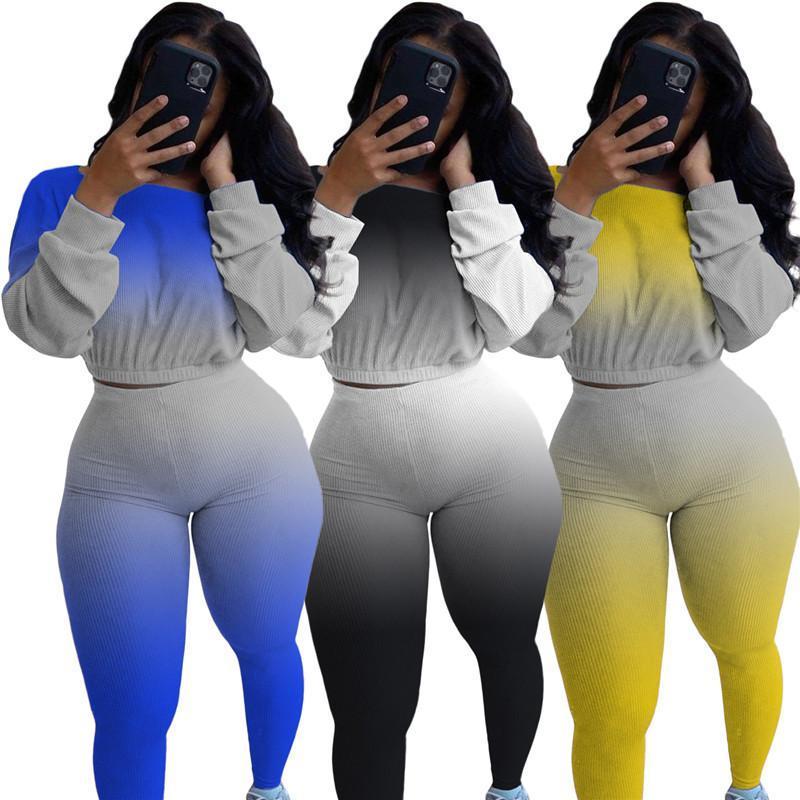 Gradient donne di colore 2pcs Casual maniche lunghe O Collo Due pezzi Pantaloni nuovi set di donne designer di vestiti